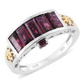 Orissa Rhodolite Garnet 14K YG and Platinum Over Sterling Silver Ring (Size 8.0) TGW 4.19 cts.