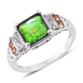 Canadian Ammolite, Orange Sapphire, White Topaz Platinum Over Sterling Silver Ring (Size 8.0) TGW 2.68 cts.