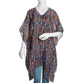 V-Neck Digital Printed Tribal 100% Silk Poncho with Purple Sequins Outline (One Size)