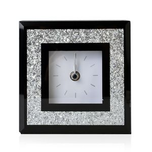 Glass Stick Clock Dual with Glitter Frame and Black Border(5.5x2x6 in) (AA Batteries not Included)