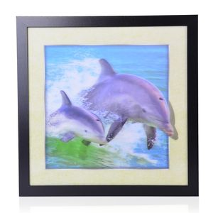 Dolphin Printed 3D Painting (16.5x16.5 in)