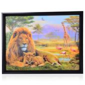 Lion Family Printed 4D Painting (16.3x12.4 in)