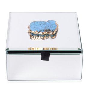 Enhanced Blue Howlite Goldtone Multi-Functional Keepsake Box (5x3x5 in)