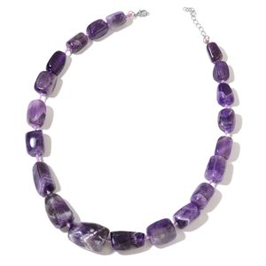 Amethyst Silvertone Beaded Necklace (18 in) TGW 720.50 cts.