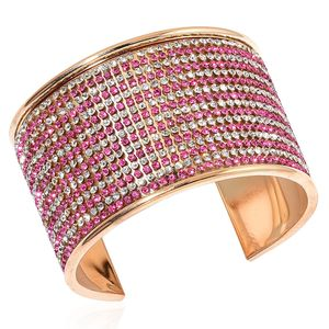 Rose Red and White Austrian Crystal Goldtone Cuff (7.50 in)