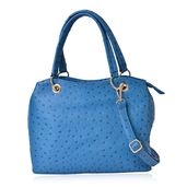 Teal Ostrich Print Faux Leather Hobo Structure Bag with Removable Shoulder Strap (47in) and Standing Studs(12x5x8 in)