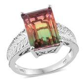 Rainbow Genesis Quartz Platinum Over Sterling Silver Ring (Size 11.0) TGW 8.15 cts.