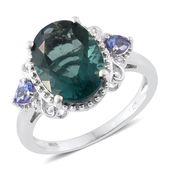 Belgian Teal Fluorite, Tanzanite, Cambodian Zircon Platinum Over Sterling Silver Ring (Size 9.0) TGW 7.25 cts.