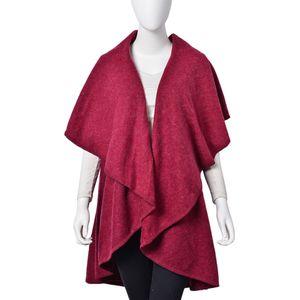 Burgundy 100% Acrylic Waved Drape Kimono (One Size)