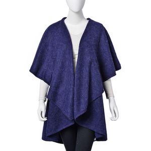 Navy 100% Acrylic Waved Drape Kimono (One Size)
