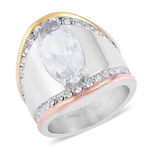 Simulated White Diamond, Austrian Crystal ION Plated YRG and Stainless Steel Ring (Size 6.0) TGW 2.26 cts.