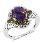 KARIS Collection - Mojave Purple Turquoise Platinum Bond Brass Ring (Size 6.0) Made with SWAROVSKI Green Crystal TGW 3.20 cts.