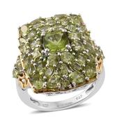 Hebei Peridot, Russian Diopside 14K YG and Platinum Over Sterling Silver Ring (Size 5.0) TGW 7.75 cts.