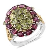 Hebei Peridot, Orissa Rhodolite Garnet 14K YG and Platinum Over Sterling Silver Cluster Ring (Size 5.0) TGW 6.20 cts.