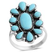 Santa Fe Style Kingman Turquoise Sterling Silver Ring (Size 8.0) TGW 3.50 cts.