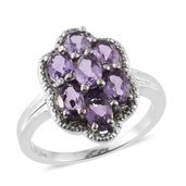 Bolivian Amethyst Stainless Steel Flower Ring (Size 7.0) TGW 2.94 cts.