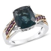 Belgian Teal Fluorite, Orissa Rhodolite Garnet 14K YG and Platinum Over Sterling Silver Ring (Size 10.0) TGW 6.85 cts.