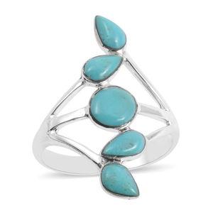 Santa Fe Style Kingman Turquoise Sterling Silver 5 Stone Split Ring (Size 7.0) TGW 6.86 cts.