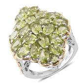 Hebei Peridot 14K YG and Platinum Over Sterling Silver Ring (Size 10.0) TGW 11.06 cts.