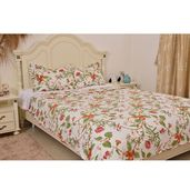 Multi Color Floral Printed Microfiber Quilt (86x86 in) and Set of 2 Sham (20x26 in)