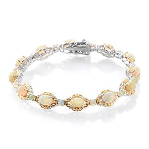 Ethiopian Welo Opal 14K YG and Platinum Over Sterling Silver Openwork Bracelet with Box Clasp (7.50 In) TGW 7.32 cts.