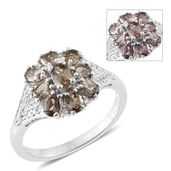 Bekily Color Change Garnet, Cambodian Zircon Platinum Over Sterling Silver Floral Ring (Size 8.0) TGW 2.37 cts.