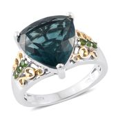 Belgian Teal Fluorite, Russian Diopside 14K YG and Platinum Over Sterling Silver Ring (Size 8.0) TGW 10.18 cts.