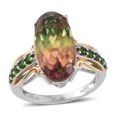 Rainbow Genesis Quartz, Russian Diopside 14K YG and Platinum Over Sterling Silver Ring (Size 7.0) TGW 12.45 cts.