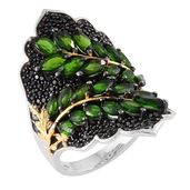 Russian Diopside, Thai Black Spinel 14K YG and Platinum Over Sterling Silver Ring (Size 7.0) TGW 8.46 cts.