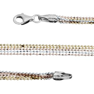 Tricolor Sterling Silver Chain (20 in)