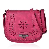 Wine Faux Leather Laser Cut Flap Over Saddle Bag (8x2.5x9 in)
