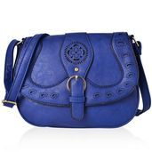 Blue Fold Over Laser Cut Saddle Bag with Buckle Snap (13.5x5x9 in)