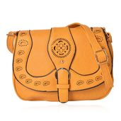 Mustard Fold Over Laser Cut Saddle Bag with Buckle Snap (13.5x5x9 in)
