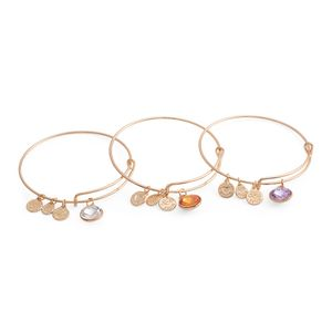 Set of 3 White, Champagne and Lilac Glass Goldtone Charm Bangles (8 in)