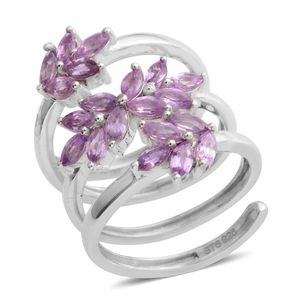 Mauve Sapphire Platinum Over Sterling Silver Swirl Ring (Size 5.5) TGW 2.25 cts.