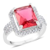 Simulated Red Diamond, Simulated Diamond Silvertone Ring (Size 5.5) TGW 6.52 cts.
