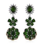 Russian Diopside, Cambodian Zircon 14K YG and Platinum Over Sterling Silver Floral Dangle Earrings TGW 8.34 cts.