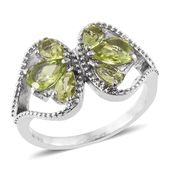 Hebei Peridot Stainless Steel Butterfly Ring (Size 5.0) TGW 2.64 cts.