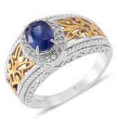 Nitin's Knockdown Deal Masoala Sapphire, Cambodian White Zircon 14K YG Over and Sterling Silver Ring (Size 7.0) TGW 2.08 cts.