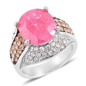 Simulated Fuschia Diamond, White and Champagne Austrian Crystal Black Oxidized Stainless Steel Ring (Size 6.0) TGW 5.60 cts.