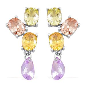 Simulated Multi Color Diamond Stainless Steel Earrings TGW 5.00 cts.