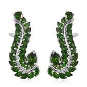 Russian Diopside Platinum Over Sterling Silver Ear Cuff Earrings TGW 10.06 cts.