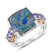 Australian Mosaic Opal, Tanzanite 14K YG and Platinum Over Sterling Silver Ring (Size 6.0) TGW 7.80 cts.