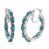 Tony's Collector Show Sonoran Blue Turquoise, Tanzanite Platinum Over Sterling Silver Inside Out Hoop Earrings TGW 7.62 cts.