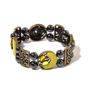 Magnetic Jewelry Hematite, Yellow Chroma, Austrian Crystal Goldtone Bracelet (Stretchable) TGW 100.00 cts.