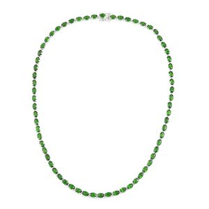 Hebei Peridot Sterling Silver Tennis Necklace with Open Box Clasp (18 in) TGW 32.70 cts.