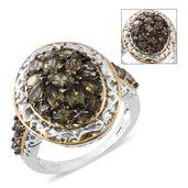 Bekily Color Change Garnet, Thai Black Spinel 14K YG and Platinum Over Sterling Silver Cluster Ring (Size 7.0) TGW 3.64 cts.