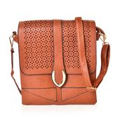 Brown Faux Leather Crossbody Bag (9.4x10.4 in)