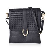 Black Faux Leather Crossbody Bag (9.4x10.4 in)