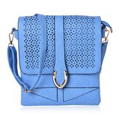 Aquamarine Faux Leather Flap Over Messenger Bag with Removable Crossbody Strap (9.5x10.5 in)